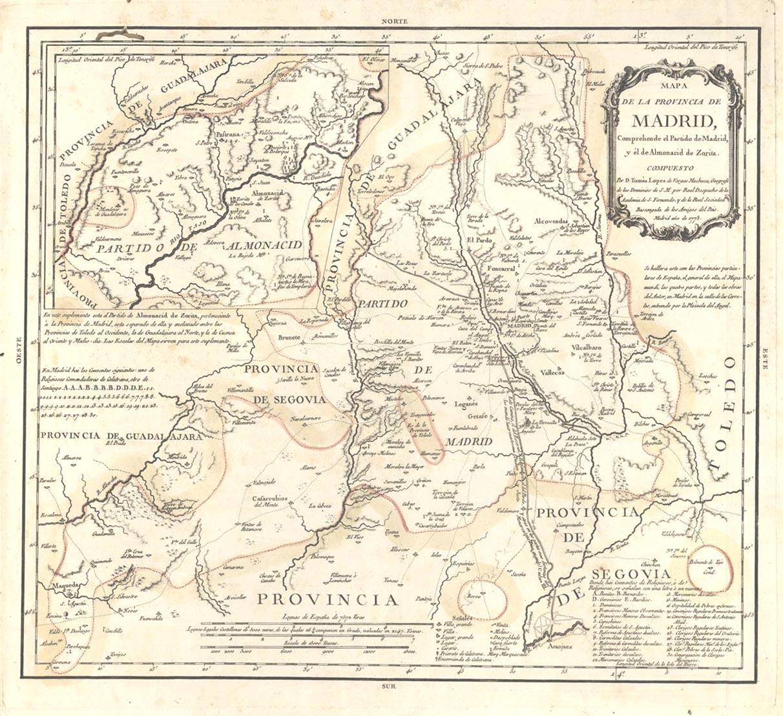 Imagen 1 - Tomás López Vargas, Mapa de la provincia de Madrid de 1773
