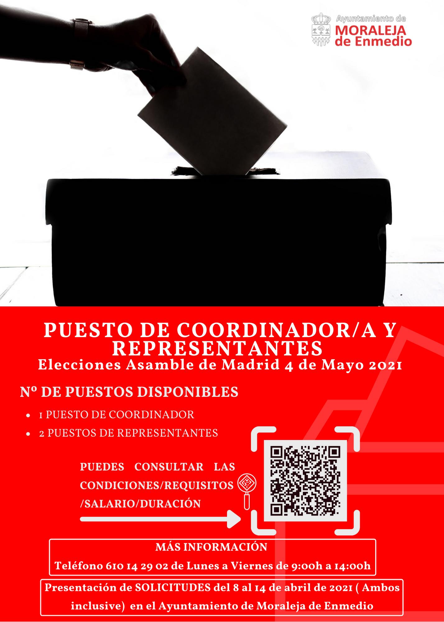 PUESTOS DE COORDINADOR/A Y REPRESENTANTES EN LAS ELECCIONES DEL 4 MAYO